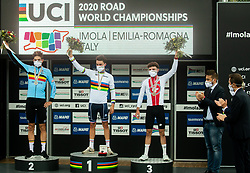 Second placed VAN AERT Wout of Belgium, World Champion ALAPHILIPPE Julian of France and third placed HIRSCHI Marc of Switzerland celebrate at medal ceremony during Men Elite Road Race at UCI Road World Championship 2020, on September 27, 2020 in Imola, Italy. Photo by Vid Ponikvar / Sportida