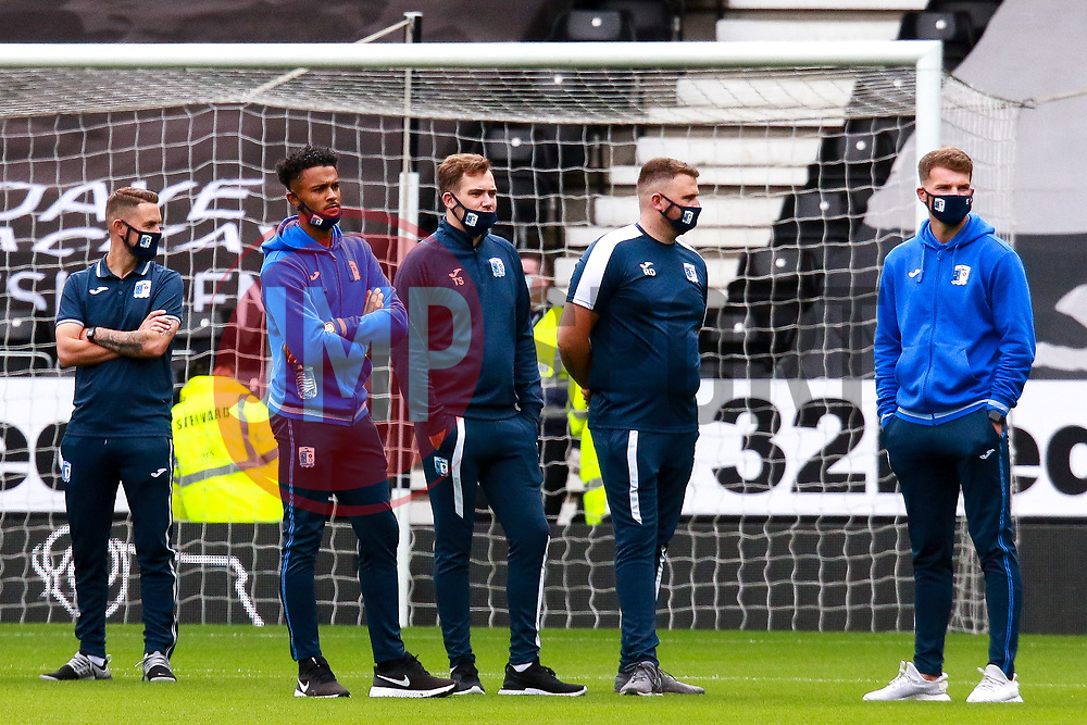 Barrow players inspect the pitch at Pride Park - Mandatory by-line: Ryan Crockett/JMP - 05/09/2020 - FOOTBALL - Pride Park Stadium - Derby, England - Derby County v Barrow - Carabao Cup