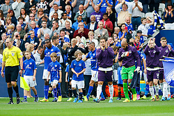 Phil Jagielka of Everton leads his side out - Photo mandatory by-line: Rogan Thomson/JMP - Mobile: 07966 386802 16/08/2014 - SPORT - FOOTBALL - Leicester - King Power Stadium - Leicester City v Everton - Barclays Premier League