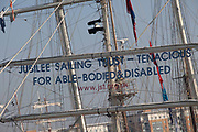 Rigging of tall ship Tenacious, a ship which caters for able bodied anddisables people, moored in Woolwich, London as part of the Thames Festival. The Festival is included as a highlight of Totally Thames, the new month-long promotion of river and riverside events delivered by Thames Festival Trust.