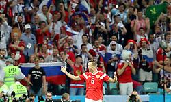 SOCHI, July 7, 2018  Denis Cheryshev of Russia celebrates scoring during the 2018 FIFA World Cup quarter-final match between Russia and Croatia in Sochi, Russia, July 7, 2018. (Credit Image: © Yang Lei/Xinhua via ZUMA Wire)