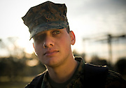 Navy Hospitalmate David Okdie watches over the Marine Corps trainees at Parris Island, S.C., on Nov. 24, 2007. (Photo by Stacy L. Pearsall)