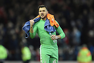 Nottingham Forest goalkeeper Jordan Smith (43) punches the air after winning 4-2 during the The FA Cup 3rd round match between Nottingham Forest and Arsenal at the City Ground, Nottingham, England on 7 January 2018. Photo by Jon Hobley.