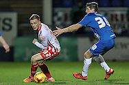Tom Conlon (Stevenage) turns inside Jake Gray (on loan from Crystal Palace) (Hartlepool United) during the Sky Bet League 2 match between Hartlepool United and Stevenage at Victoria Park, Hartlepool, England on 9 February 2016. Photo by Mark P Doherty.
