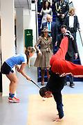Hare Majesteit Koningin Máxima is donderdagmiddag 27 maart 2014 aanwezig bij de viering van het 10-jarig bestaan van het ROC Midden Nederland in Utrecht. Onderdeel van de viering is de opening van een nieuwe onderwijslocatie die het ROC in januari 2014 in gebruik heeft genomen en waarmee een breder herhuisvestingsproject is afgerond. <br /> <br /> Her Majesty Queen Máxima's  attends the celebration of the 10th anniversary of the ROC Central Netherlands in Utrecht. Part of the celebration is the opening of a new educational venue that the ROC has put into operation in January 2014, and that a broader resettlement project is completed.<br /> <br /> OP de foto / On the photo:  Koningin Maxima krijgt een rondleiding door het opleidingscentrum ROC Midden-Nederland ///// Queen Maxima gets a tour of the training ROC Central Netherlands.