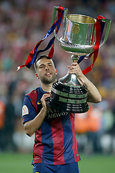 30.05.2015, Camp Nou, Barcelona, ESP, Copa del Rey, Athletic Club Bilbao vs FC Barcelona, Finale, im Bild FC Barcelona's Jordi Alba celebrates the victory // during the final match of spanish king's cup between Athletic Club Bilbao and Barcelona FC at Camp Nou in Barcelona, Spain on 2015/05/30. EXPA Pictures © 2015, PhotoCredit: EXPA/ Alterphotos/ Acero<br /> <br /> *****ATTENTION - OUT of ESP, SUI*****