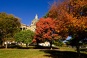 12 OCTOBER 2020 - DES MOINES, IOWA: Trees with their leaves changing colors frame the Iowa State Capitol in Des Moines.      PHOTO BY JACK KURTZ