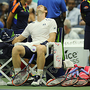 2016 U.S. Open - Day 10  Andy Murray of Great Britain reacts after a break of serve during his loss against Kei Nishikori of Japan in the Men's Singles Quarterfinal match on Arthur Ashe Stadium on day ten of the 2016 US Open Tennis Tournament at the USTA Billie Jean King National Tennis Center on September 7, 2016 in Flushing, Queens, New York City.  (Photo by Tim Clayton/Corbis via Getty Images)