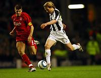 Steven Gerrard Liverpool/Pavel Nedved Juventus <br />Liverpool V Juventus 05/04/05<br />The UEFA Champions League Quarter Final 1st Leg<br />Photo Robin Parker Fotosports International