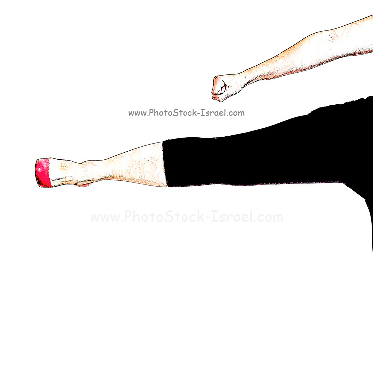 Digitally enhanced image of a Sexy woman with red high heel shoes kicks to the side