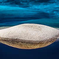 Abstract of a rock in the water in Lake Tahoe, Nevada.