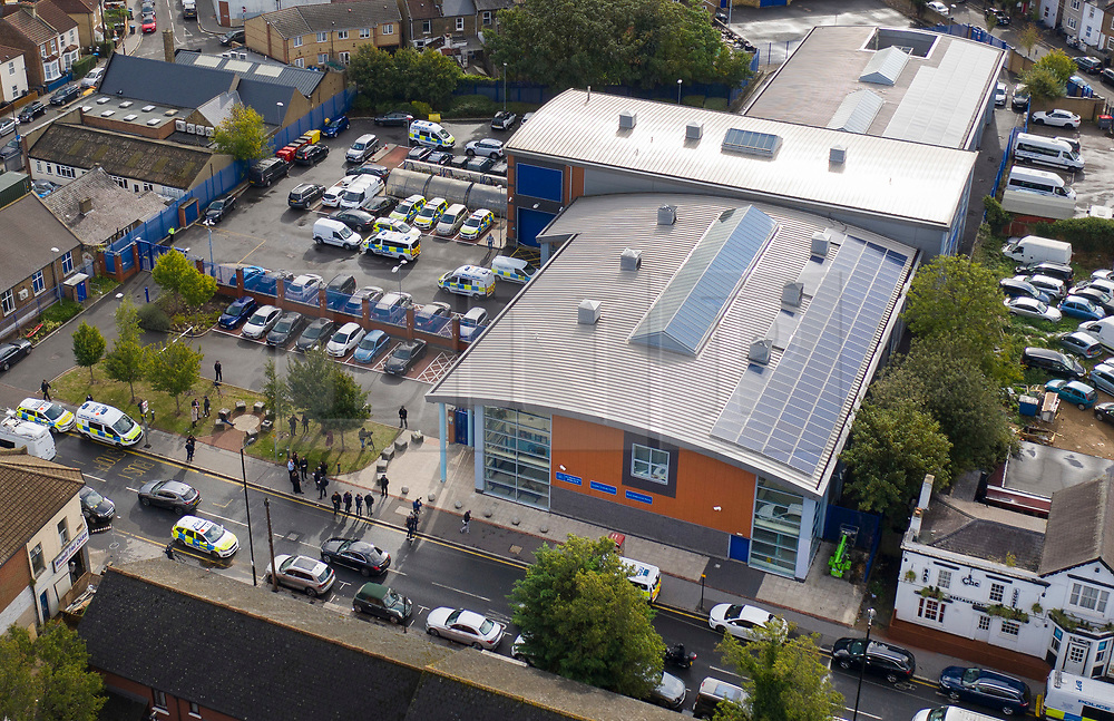 © Licensed to London News Pictures. 25/09/2020. Croydon, UK. An aerial view of  Croydon Custody Centre in South London, where a police officer was shot dead in the early hours of this morning. A murder investigation has been launched. Photo credit: Peter Macdiarmid/LNP