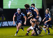 Sale Sharks lock Lood De Jager breaks through the Exeter defence during a Gallagher Premiership Round 11 Rugby Union match, Friday, Feb 26, 2021, in Eccles, United Kingdom. (Steve Flynn/Image of Sport)