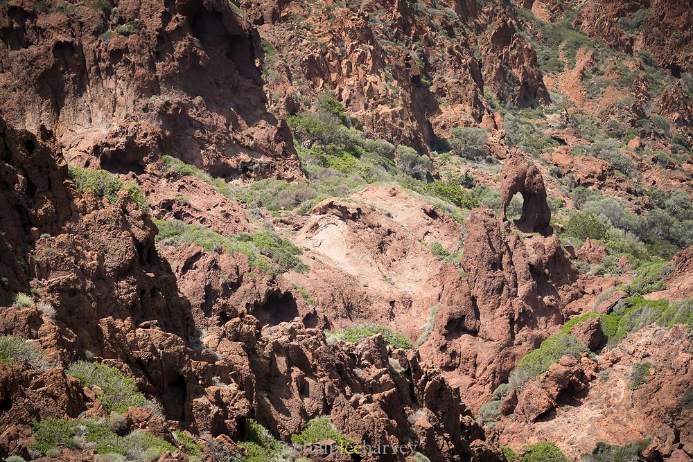 High angle view of elephant shaped rock, Scandola Nature Reserve, Corsica, France