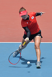 PALEMBANG, Sept. 1, 2018  Kim Jiyeon of South Korea competes during soft tennis women's team semifinal at the 18th Asian Games 2018 in Palembang, Indonesia on Sept. 1, 2018. (Credit Image: © Veri Sanovri/Xinhua via ZUMA Wire)