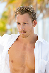 hot man in an open shirt