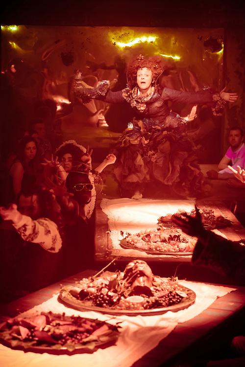 Royal Exchange Theatre production of The Skriker with Maxine Peake, by Caryl Churchill. Directed by Sarah Frankcom. Cast; Maxine Peake, Laura Elsworthy, Juma Sharkah with Ensemble; Sarah Amankwah, Harry Attwell, Alex Austin, Hannah Hutch, Martins Imhangbe, Kate Jackson, Stuart Overington, Beatrice Scirocchi, Andrew Sheridan, Jessica Walker, Leah Walker, Owen Whitelaw.