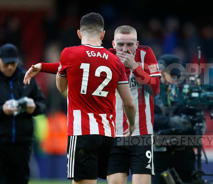 Oli McBurnie of Sheffield Utd celebrates the win during the Premier League match at Bramall Lane, Sheffield. Picture date: 9th February 2020. Picture credit should read: Simon Bellis/Sportimage