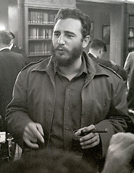Prime Minister Fidel Castro of Cuba speaks to reporters after addressing a National Press Club luncheon in Washington, DC, USA, on April 20, 1959. His appearance came less than four months after he seized power in Cuba and he said he had no dictatorial ambitions. Photo by Benjamin E. 'Gene' Forte/CNP/ABACAPRESS.COM Photo by Arnie Sachs/CNP/ABACAPRESS.COM