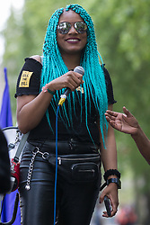 London, UK. 29th May, 2021. Chantelle Lunt, founder of Merseyside BLM Alliance, addresses fellow activists from civil rights and other groups taking part in a Kill The Bill National Day of Action in protest against the Police, Crime, Sentencing and Courts (PCSC) Bill 2021. The PCSC Bill would grant the police a range of new discretionary powers to shut down protests, including the ability to impose conditions on any protest deemed to be disruptive to the local community, wider stop and search powers and sentences of up to 10 years in prison for damaging memorials.