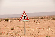 Tunisia 2011. Road Tataouine to Remada. Road sign warning of prescence of camels.
