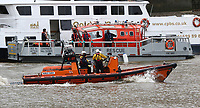 London Fire Brigade fire rescue boat Fire Dart, RNLI Royal National Lifeboat Institution E class lifeboat Hurley Burley E-07, Emergency Services Exercise, Lambeth Reach River Thames, London UK, 23 October 2017, Photo by Richard Goldschmidt