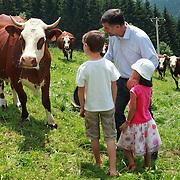 Kids at the cheese farm