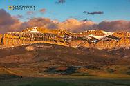 Cattle pastures below Walling Reef at sunrise near Dupuyer, Montana, USA