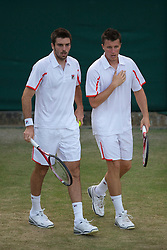 LONDON, ENGLAND - Thursday, June 24, 2010: Colin Fleming (GBR) & Kenneth Skupski (GBR) during the Gentlemen's Doubles 1st Round match on day four of the Wimbledon Lawn Tennis Championships at the All England Lawn Tennis and Croquet Club. (Pic by David Rawcliffe/Propaganda)
