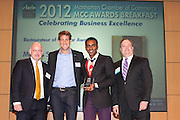 Manhattan Chamber of Commerce's 2012 Awards Breakfast celebrated business excellence by recognizing outstanding leaders. Restaurateur of the Year, Marcus Samuelsson of  Red Rooster with Andrew Chapman. Glenn Coleman, Crains New York Business (l), and Joseph F. Kirk, Wells Fargo (r) The awards were presented by Well Fargo and hosted at Con Edison's Conference Center on January 31, 2013.