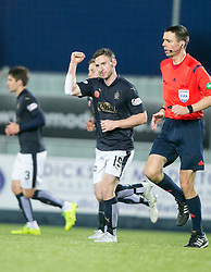 Falkirk's Bob McHugh celebrates after scoring their fourth goal.  <br /> Falkirk 5 v 0 Alloa Athletic, Scottish Championship game played at The Falkirk Stadium.