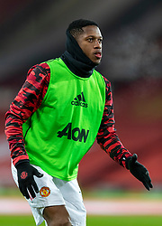 MANCHESTER, ENGLAND - Friday, January 1, 2020: Manchester United's Frederico Rodrigues de Paula Santos 'Fred' during the pre-match warm-up before the New Year's Day FA Premier League match between Manchester United FC and Aston Villa FC at Old Trafford. The game was played behind closed doors due to the UK government putting Greater Manchester in Tier 4: Stay at Home during the Coronavirus COVID-19 Pandemic. (Pic by David Rawcliffe/Propaganda)