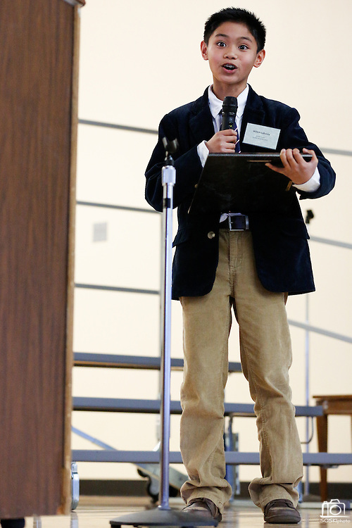 Zanker ASB President Willem Labucay (12) delivers a speech during the KLA-Tencor Computer Lab opening ceremony at Zanker Elementary School in Milpitas, California, on February 27, 2013. (Stan Olszewski/SOSKIphoto)