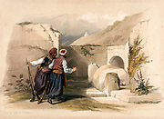 Site of the tomb of Joseph at Nablus. Coloured lithograph by Louis Haghe after David Roberts, 1842.