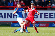 Accrington Stanley midfielder Sam Finley (14) wins the ball  during the EFL Sky Bet League 1 match between Accrington Stanley and Portsmouth at the Fraser Eagle Stadium, Accrington, England on 27 October 2018.
