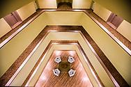 High angle interior view inside the Trump hotel in Panama City, Panama.