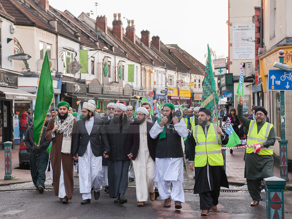 © Licensed to London News Pictures. 03/01/2016. Bristol, UK. Hundreds take part in a Muslim Peace March through east Bristol on the day of celebrating the birthday of the Prophet Muhammad the founder of Islam. The event was organised by city's four biggest mosques - Easton Jamia Mosque, Fishponds Madani Mosque, Totterdown Mosque and Hazarat Bilal Centre.  All four mosque chairmen  addressed the crowds at points throughout the march, preaching various messages of peace and promoting diversity and inclusion, and thanked Bristol for allowing its citizens to share their religious festival on the streets.  The Prophet's birthday is known as Eid MIlad ul-Nabi and falls on the 12th or 17th day of the Islamic month of Rabi' al-awwal which changes every year because the Islamic calendar is based around the movements of the moon. In the UK most Muslims mark the occasion by fasting or by holding special prayers or conferences. Photo credit : Simon Chapman/LNP