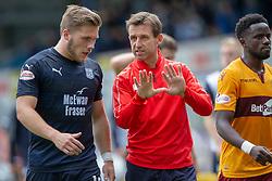 Dundee's  Benjamin Kallman and Dundee's manager Neil McCann at half time. Dundee 1 v 3 Motherwell, SPFL Ladbrokes Premiership game played 1/9/2018 at Dundee's Kilmac stadium Dens Park