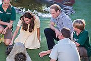 Duke and Duchess of Cambridge visit Taronga Zoo, Sydney , Australia. Catherine, Duchess of Cambridge and Prince William, Duke of Cambridge meet a echidna, 20 April 2014