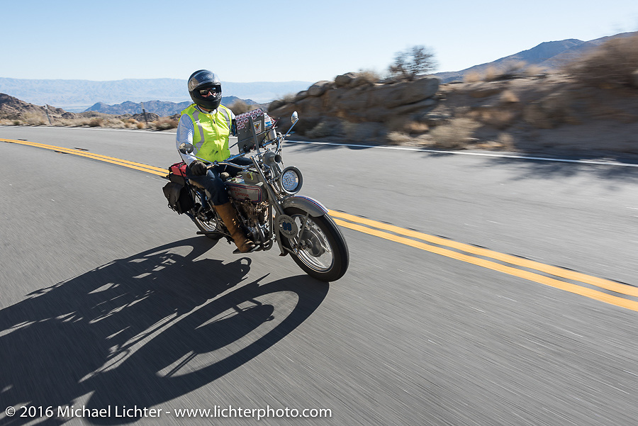 Jon Neuman of Texas riding his 1916 Harley-Davidson on the Palms to Pines Scenic Byway on the last day of the Motorcycle Cannonball Race of the Century. Stage-15 ride from Palm Desert, CA to Carlsbad, CA. USA. Sunday September 25, 2016. Photography ©2016 Michael Lichter.