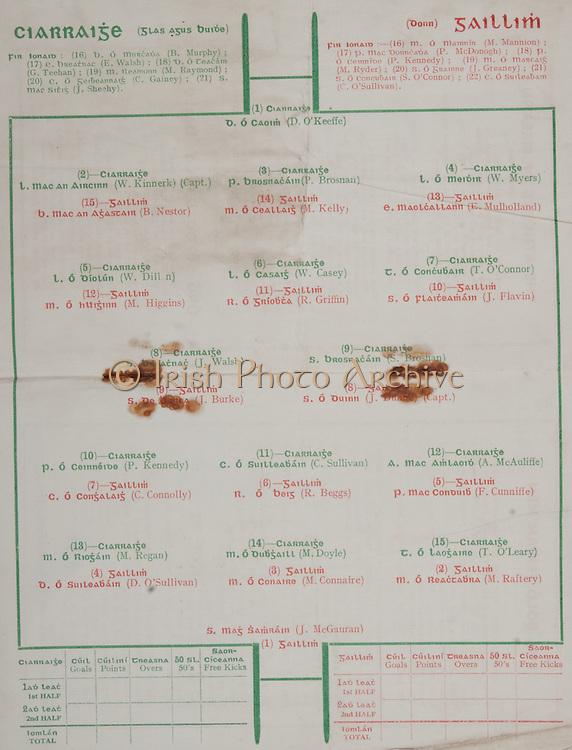 All Ireland Senior Football Final, held at Croke Park, Dublin, Ireland.Galway 2-04 Kerry 0-07, 23.10.1938, 10.23.1938, 23rd October 1938, 23101938AISFCF, .Kerry, D O'Keffe, W Kinnerk Captain, P Brosnan, W Myers, W Dillon, W Casey, T O'Connor, J Walsh, S Brosnan, P Kennedy, C Sullivan, A McAuliffe, M Regan, M Doyle, T O'Leary, ..Galway, J McGauran, M Raftery, M Connaire, D O'Sullivan, F Cunniffe, R Beggs, C Connolly, J Dunne captain, J Burke, J Flavin, R Griffin, M Higgins, E Mullholland, M Kelly, B Nestor,