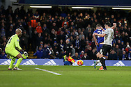 John Terry, the Chelsea captain scores his sides 3rd goal to make it 3-3 as the assistant referee keeps his flag down. Barclays Premier league match, Chelsea v Everton at Stamford Bridge in London on Saturday 16th January 2016.<br /> pic by John Patrick Fletcher, Andrew Orchard sports photography.