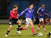 Fotball<br /> Landskamp U21<br /> Frankrike v Norge<br /> 27.03.2007<br /> Foto: Dppi/Digitalsport<br /> NORWAY ONLY<br /> <br /> HATEM BEN ARFA (FRA) / RUNE ERTSAAS / ERTSÅS (NOR)