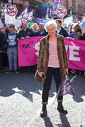 """© Licensed to London News Pictures . 29/09/2013 . Manchester , UK . Coronation Street actress Julie Hesmondhalgh who plays Hayley Cropper , at the front of the march . A Unison lead demonstration titled """" Save our NHS """" through Manchester City Centre today (Sunday 29th September 2013) coinciding with the Conservative Party Conference in the city . Photo credit : Joel Goodman/LNP"""