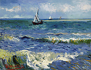 Painting of Seascape near Les Saintes Maries de la Mer, 1888. By Vincent van Gogh. Oil on Canvas.