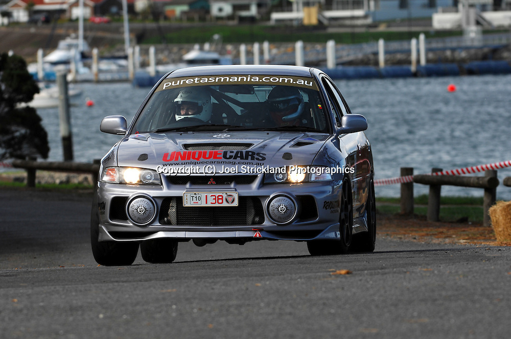 #138 - Adam Newton & Daniel Lemish - 1997 Mitsubishi Lancer Evolution IV RS.Prologue.George Town.Targa Tasmania 2010.27th of April 2010.(C) Joel Strickland Photographics.Use information: This image is intended for Editorial use only (e.g. news or commentary, print or electronic). Any commercial or promotional use requires additional clearance.