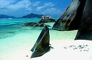 Shaped granite rocks at Pointe Source d'Argent beach, La Digue island, Seychelles,