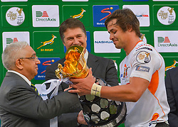 Francois Venter(C) of the Free State Cheetahs receiving the trophy during the Currie Cup Final between the The Free State Cheetahs and Blue Bulls held at Toyota Stadium (Free State Stadium), Bloemfontein, South Africa on the 22nd October 2016<br /> <br /> Photo by:   Frikkie Kapp / Real Time Images