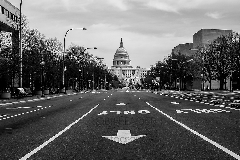 The streets in Washington DC are haunting and empty during the pandemic shutdown.  I stood alone on this normally bustling Pennsylvania Avenue.