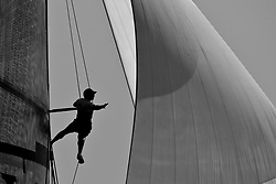 Cameron Appleton up in the rig. Semi-final Artemis (SWE) vs Emirates Team New Zealand (NZL.  La Maddalena, Sardinia, June 4th 2010. Louis Vuitton Trophy  La Maddalena (22 May -6 June 2010) © Sander van der Borch / Artemis